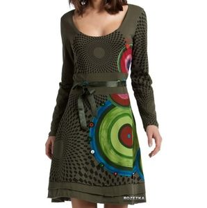 Desigual Circle Embroidered Green Long Sleeve Dres